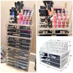2 PC Acrylic Jewelry & Cosmetic Makeup Storage Display SET - GoGetGlam