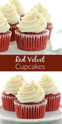 PERFECT red velvet cupcakes have a soft crumb, moist texture, hint of chocolate, and a gorgeous bright red color. Then they're topped with tangy cream cheese frosting for the best red velvet cupcake recipe. Frost Cupcakes, Cupcakes Au Cholocat, Cupcakes Red Velvet, Cupcake Cakes, Red Velvet Cake Frosting, Red Velvet Muffins, Easy Red Velvet Cake, Red Velvet Desserts, Red Velvet Recipes