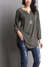 Another great find on #zulily! Olive Notch Neck Tunic #zulilyfinds