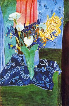"igormaglica: ""  Henri Matisse (1869-1954), Calla Lilies, Irises and Mimosas, 1913. oil on canvas, 97 x 145.5 cm """