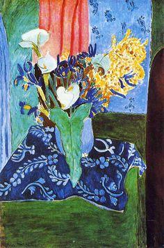 "igormaglica: ""  Henri Matisse (1869-1954), Calla Lilies, Irises and Mimosas, 1913. oil on canvas, 97 x 145.5 cm """