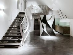 In a renovated roof top apartment of a private building owner in Vienna/Austria the architect's office heri&salli conceived the design of a staircase. Pandomo Floor, Amazing Architecture, Architecture Design, Stair Handrail, Modern Stairs, Space Interiors, Stairway To Heaven, Staircase Design, Stairways