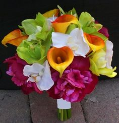 Fuchsia, Green & Orange Natural Touch Callas, Orchids and Peonies Bouquet