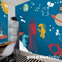 Nursery Kids Wall Decal Outer Space Wall Decal by pinknbluebaby