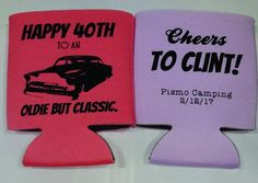 40th Birthday old car classic party favors can coolers SP1271