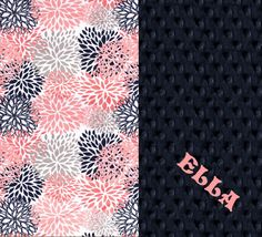 Personalized Coral, Navy, & Silver Flower Baby Blanket - Name Baby Blanket Gift