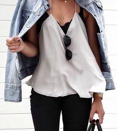 denim jacket + lace bralette + silk tank