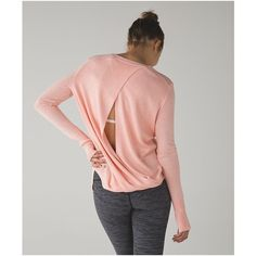 lululemon Bring It Backbend Sweater ($128) ❤ liked on Polyvore featuring tops, sweaters, heathered minty pink, loose sweater, pink pullover sweater, open back yoga top, lululemon sweater and open back top