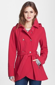 Betsey Johnson Tulip Hem Soft Shell Jacket with Removable Hood (Online Only) available at #Nordstrom