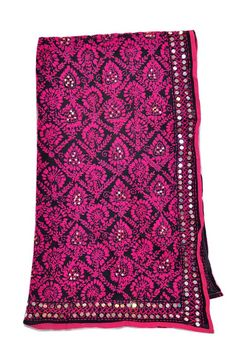 Pink and black motiffed phulkari design