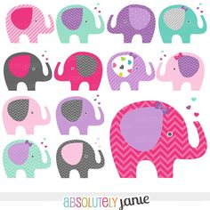 Pink Purple Baby Elephant Digital Clipart  by AbsolutelyJanie