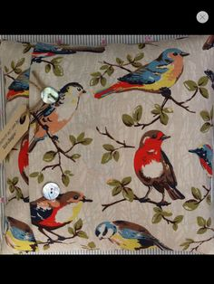 Cath kidston garden birds in stone... Oil cloth for table cloth/high chair cushion etc.