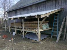 Lumber Storage Rack, Lumber Rack, Wood Storage Sheds, Firewood Storage, Built In Storage, Tool Storage, Pallet Barn, Wood Mill, Workshop Storage