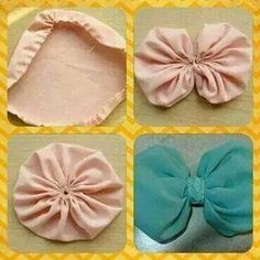 By Maria Gonzalez Use on crochet hats ashion: How to find the perfect hat for your face shape! Super pretty and simple Ribbon Crafts, Flower Crafts, Fabric Crafts, Sewing Crafts, Sewing Projects, Making Hair Bows, Diy Hair Bows, Diy Bow, Diy Baby Headbands