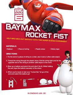 Big Hero 6 Baymax's Rocket fist. How to make a simple balloon rocket and what is the science behind this experiment