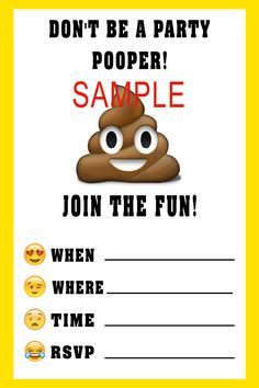 Emoji Birthday Invitation- Please click on image twice to place orders or follow me on Facebook