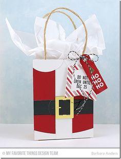 Gift Tag Greetings, Candy Stripes Background Builder, Santa Suit Die-namics, Tag Builder Blueprints 4 Die-namics - Barbara Anders #mftstamps
