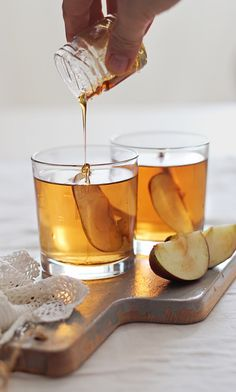 A collection of holiday cocktails. Pictured is Honey Bourbon Apple Cider