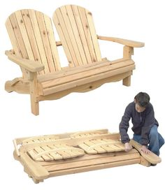 Folding Adirondack Loveseat Plan - Workshop Supply .com #adirondack #plan