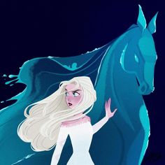 Elsa and Nokk the Water Spirit horse from Frozen 2 Disney And Dreamworks, Disney Films, Disney Pixar, Disney Characters, Punk Disney, Disney Crossovers, Arte Disney, Disney Fan Art, Disney Magic