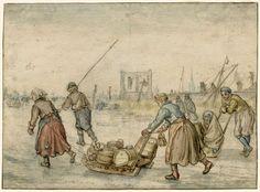 Landlieden met sleden op het ijs, Hendrick Avercamp, 1595 - 1634