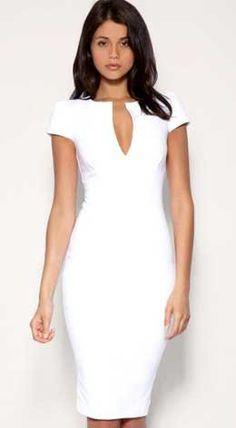 All White Outfits: White Dress 2019 - Fashion White Fashion, Look Fashion, Womens Fashion, Little White Dresses, White Outfits, Cute Dresses, Short Dresses, Elegantes Outfit, Work Attire