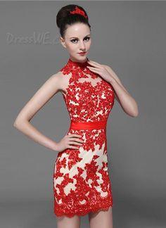 Dresswe.com SUPPLIES Attractive High Neck Zipper-Up Lace Short/Mini Cocktail Dress Cocktail Dresses 2014