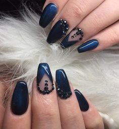 Dark blue color with diamond shine. Generally colors with diamond shine are glamorous and give special note of elegance to your hands.