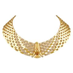 CARTIER Egyptian Revival Diamond Gold Eagle Necklace | From a unique collection of vintage choker necklaces at https://www.1stdibs.com/jewelry/necklaces/choker-necklaces/