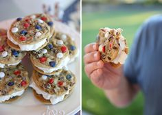 4th of July - red, white and blue ice cream sammies