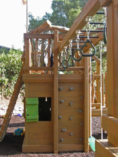 many options in limited space - also good for multiple ages! Barbara Butler-Extraordinary Play Structures for Kids-Rugged Ruckus: Rugged Ruckus Play Structures For Kids, Outdoor Play Structures, Kids Play Structure, Build A Playhouse, Playhouse Outdoor, Backyard Playground, Backyard For Kids, Backyard Fort, Kids Climbing