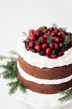Dairy, refined sugar, and gluten-free Gingerbread Cake with cranberry topping perfect for the holidays.
