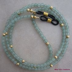 Green aventurine and gold eyeglass chain for reading glasses. Green aventurine and gold eyeglass chain for reading glasses. Glass Necklace, Beaded Necklace, Eyeglass Holder, Green Aventurine, Reading Glasses, Creations, Mint, Crafts To Make And Sell, Craft Ideas