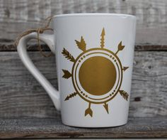 16 Ounce Coffee Mug  Tribal Arrow Design by threepaintedarrows