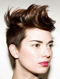 Love the cut, hair color, and muted pinkish-red lips.