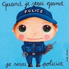 Tableau policier Police, Illustrations, Painted Rocks, Badge, Preschool, Drawings, Instagram Posts, Painting, Reproduction