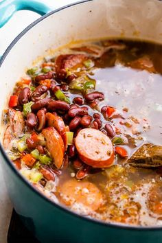 Tender red beans and spicy Andouille sausage are cooked into a full-bodied dish that's heavy on aromatics and authentic flavor. It's that classic Southern comfort food, Louisiana Red Beans and Rice! Southern Red Beans And Rice Recipe, Red Beans N Rice Recipe, Southern Recipes, Healthy Rice Recipes, Cajun Recipes, Bean Recipes, Cajun Food, Spicy Dishes, Food Dishes