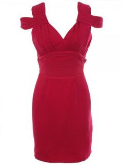 Red Pleated Dress with V-Neck and Back,  Dress, pleated dress  v-neck  cutout, Chic