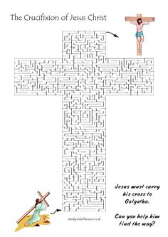 Easter Cross-shaped maze - Bible Worksheet for Sunday School