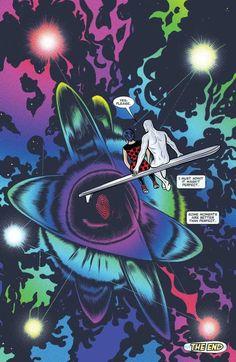 Dan Slott's SILVER SURFER is a fairly underrated book. Comic Book Pages, Comic Book Artists, Comic Book Covers, Comic Books Art, Comic Art, Silver Surfer Comic, Short Comics, Marvel Entertainment, Comic Panels