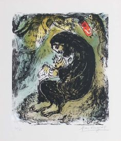 Chagall Hand Signed Color Lithograph | Meditation