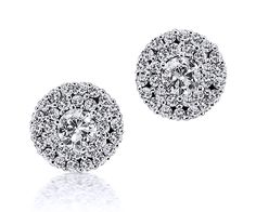 Double Halo stud earrings in white gold featuring two brilliant-cut diamonds encompassed by a total of 60 brilliants tw). Diamond Jewelry, Halo, White Gold, Stud Earrings, Gemstones, Inspiration, Design, Diamond Jewellery, Biblical Inspiration
