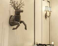 Umelecký drevený 3D obraz bežiaceho jeleňa v 9 farbách 3d Wall Decor, Diy Wall, Animal Decor, Animal Heads, Bedroom Decor, Bedroom Furniture, Wall Sculptures, Interior Decorating, Interior Design