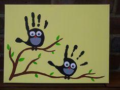 Vogelparadies: Handabdrücke für Opa zum Geburtstag