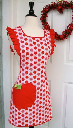 UpCycled Valentine's Apron Red Apples Print with Ruffle by DrapesofWrath, $35.00