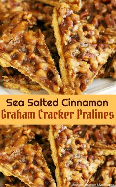 Sea Salted Cinnamon Graham Cracker Pralines are a deligtfully rich buttery graham cracker cookie embellished with pralines. Graham Cracker Dessert, Graham Cracker Cookies, Graham Cracker Recipes, Graham Cracker Toffee, Cracker Candy, Recipes With Graham Crackers, Mini Desserts, Easy Desserts, Delicious Desserts