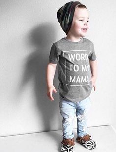 "For all the little's that are all about their mamas because aren't they all? Our ""Word to My Mama"" Toddler tee is an adorable hipster-clothing accessory that will make you laugh and smile. ""Mama"" is everything to your little one right now, so why not celebrate their complete admiration for you with this hilarious take on a famous hip hop inspired phrase.Children's clothing should be fun and our Word To My Mama tee is exactly that. These tees are made to order with a 2-3 week turn around time…"