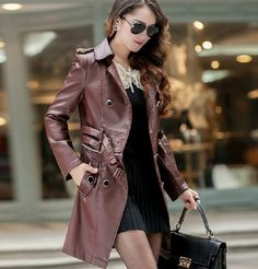 >> Click to Buy << 2014 winter women fashion PU leather wind coat detachable long slim coat turn-down collar belt plus size clothes M-4XL E375 #Affiliate