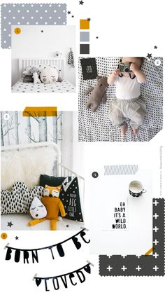 More inspiration from the spaces of some very lucky little ones today. A clean and simple look; black and white with pops of grey and dar. Orange Nursery, Nursery Neutral, Monochrome Nursery, Nursery Room, Kids Bedroom, Nursery Decor, Baby Boy Rooms, Baby Room, Diy Bebe