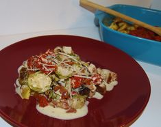 Brussel Sprouts, Turnips, Zucchini & Tomatoes with Alfredo Sauce.